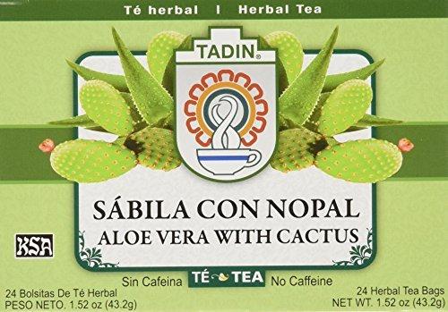 Tadin Tea Aloe Vera With Cactus 24 Bags - Te De Sabila Con Nopal- Diabetic Tea Helps control Blood Sugar & Cholesterole levels ()