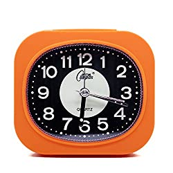 Mini Fluorescent Bedroom Alarm Clock, Silent Non Ticking Analog Small Lightweight Quartz Alarm Clock with Snooze and Light, Battery Operated by OSMOFUZE (Tangerine, Rectangular)
