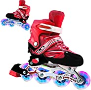 2 in 1 Roller Skates,3 Size Adjustable Roller Skates for Kids and Adults,Perfect First Skates for Girls and Bo