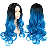 Ombre Wigs 28' Body Wave Cosplay Wigs Synthetic Hair Heat Resistant None Lace Natural Hairline for Black White Women (Black/Blue)