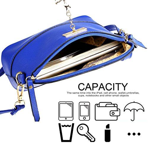 Tote Bag - All4you mujeres cuero sintético bandoleras bolso sólida pequeña cruz cuerpo Bag(Blue) Azul