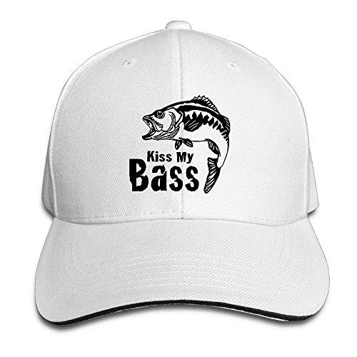 Fish Cartoon Kiss My Bass Casual Unisex Unstructured Cotton Cap Adjustable Baseball Hat Cap White