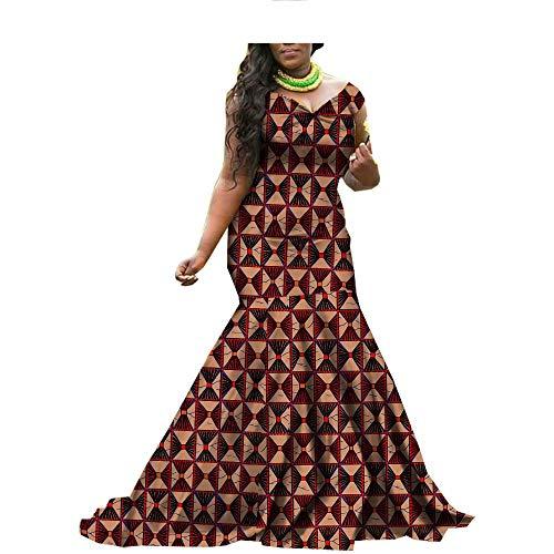 - African Mermaid Dresses for Women Maxi Wax Print V-Neck Trumpet Floor-Length 499 XL