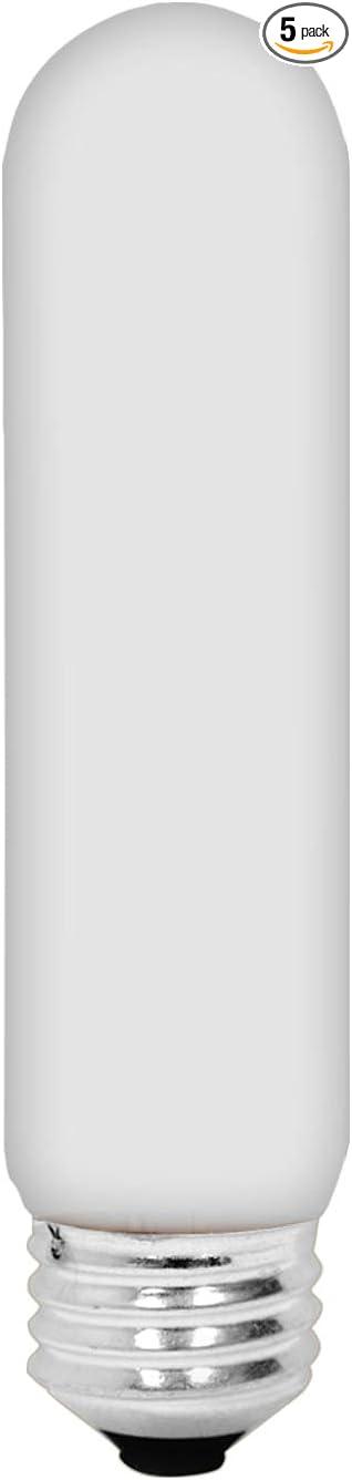 GE T10 Tubular Light Bulb, 40-Watt, 415 Lumen, Medium Base, Soft White, 5-Pack