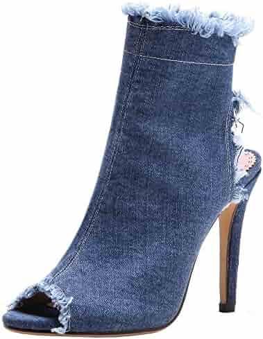 78efead42ad1 Mofri Women s Peep Toe Sandals - Stylish Side Zipper Cut Out Ankle Booties  - Frayed Denim