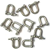 JingYi Stainless Steel Mini D Shaped Bow Shackle, 3mm, Silver Color,for Paracord Jewelry, Marine Tackle-10 Pcs