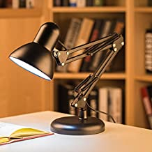 Desk Lamp Swing Arm Light with Heavy Base and 133CM Power Cord,Durable Alloy Table Lamp Office Lighting Bed Night Light for Reading