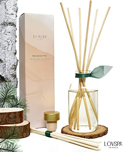 Holiday Birchwood Pine Reed Diffuser Set by LOVSPA with Wood Slice Coaster | White Pine, Fir Balsam, Birchwood & Amber Fragrance Notes | Woodsy Rustic Decor w/Scented Sticks | Christmas Tree Scent Woodsy Christmas