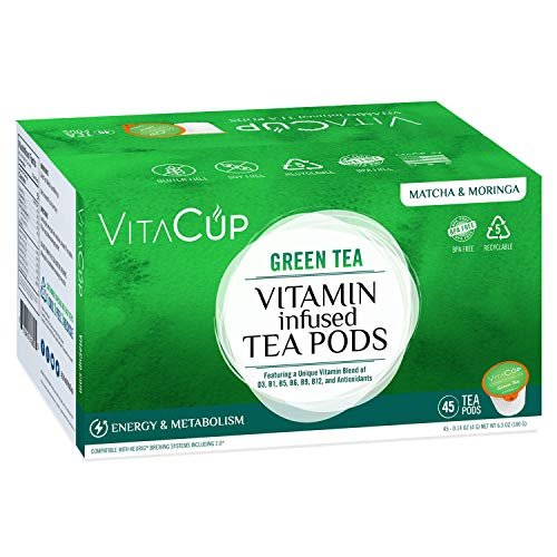 VitaCup Green Tea 45 ct. Top Rated Tea Cups with Matcha & Moringa Infused With Essential Vitamins B12, B9, B6, B5, B1, D3, Pods Compatible with K-Cup Brewers including Keurig 2.0