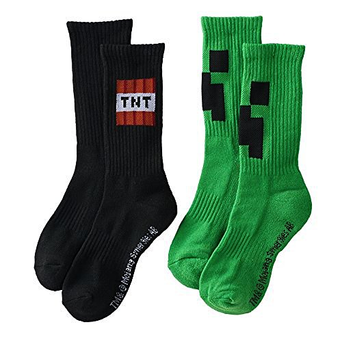 Minecraft Boys Crew Length Athletic Socks-Creeper Face and TNT- 2 pair pack