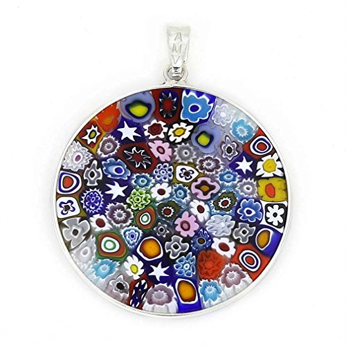 Millefiori Glass Pendant (GlassOfVenice Murano Glass Millefiori Pendant Multicolor in Silver Frame 1-1/4
