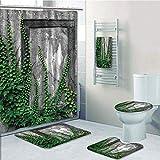 Bathroom 5 Piece Set shower curtain 3d print,Mystic House Decor,Ivy on Wall with Aged Antique Empty Picture Frame as Window Creative Art,Green Charcoal,Bath Mat,Bathroom Carpet Rug,Non-Slip,Bath Towls