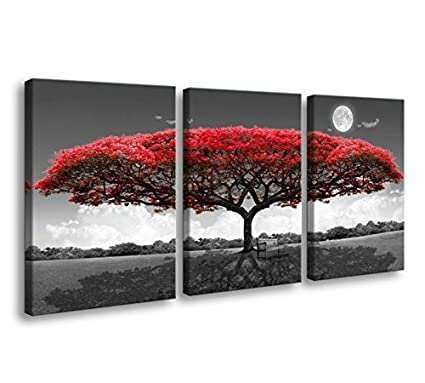 Amazon.com: youkuart 3 Panel wall art red tree For Living Room Decor ...