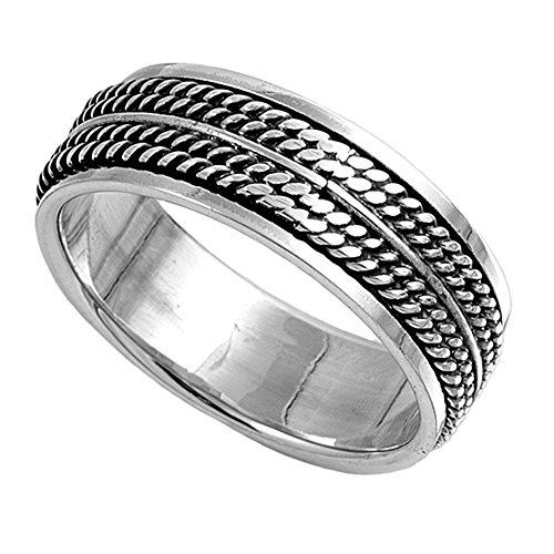 Sterling Silver Wedding Band Oxidized Finish Braided Rope Design Spinner Ring (Size 7 to 13) Size 7 ()
