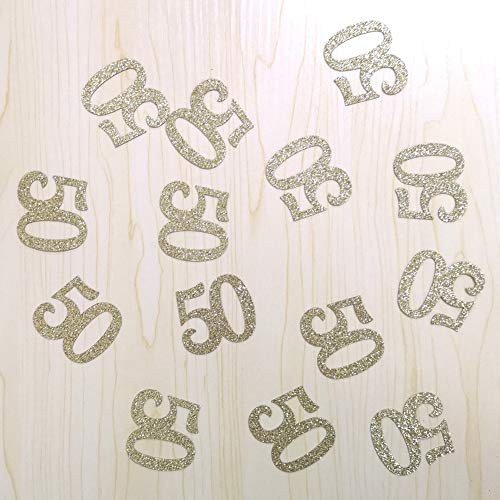 100 PCS Gold Glitter Number 50 Table Confetti 50th Birthday/Anniversary Celebrating Decorations ()