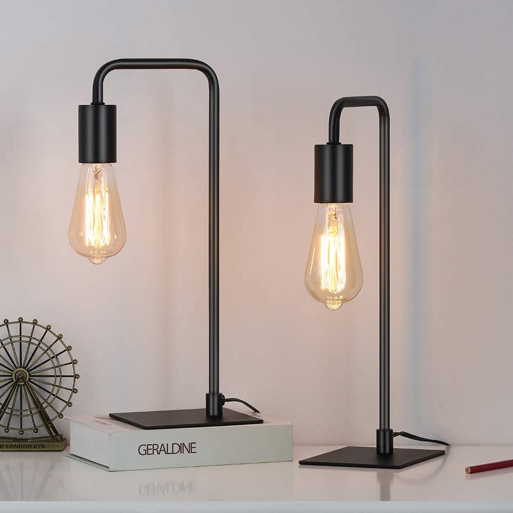Industrial Desk Lamp, Edison Lamp, Bedside Table Lamp for Nightstand, Coffee Table, Dressers, Study Desk, Black Metal Lamps in Bedroom, Living Room, College Dorm, Set of 2