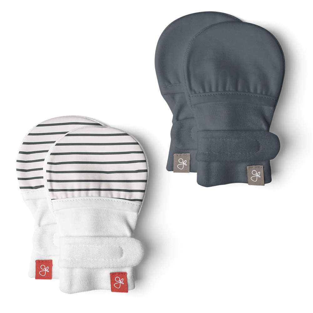 Goumi Baby Scratch Preventing Mittens, Bamboo/Organic Cotton Stay-On Unisex Newborn Mitts (3-6 Months, Stripe Gray/Midnight)