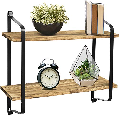 Greenco Rustic Floating Shelves Wall Mounted 2 Tier With Metal Brackets (Tier Shelf Wall 2)