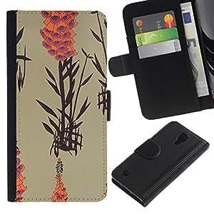 For SAMSUNG Galaxy S4 IV / i9500 / i9515 / i9505G / SGH-i337,S-type® Art Nature Plant Lake Orange Beige - Dibujo PU billetera de cuero Funda Case Caso de la piel de la bolsa protectora