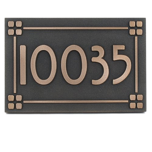 - Atlas Signs and Plaques Willow Craftsman Address Plaque with lines 12X8 - Made in USA - Raised Bronze Metal Coated Sign