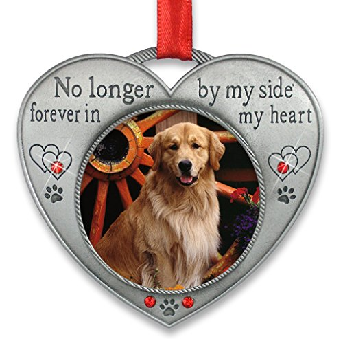Christmas Tree Ornament Personalized (Pet Memorial Picture Ornament - No Longer By My Side - Heart Shaped Photo Frame Ornament - Loss of a Pet - Pet Sympathy)