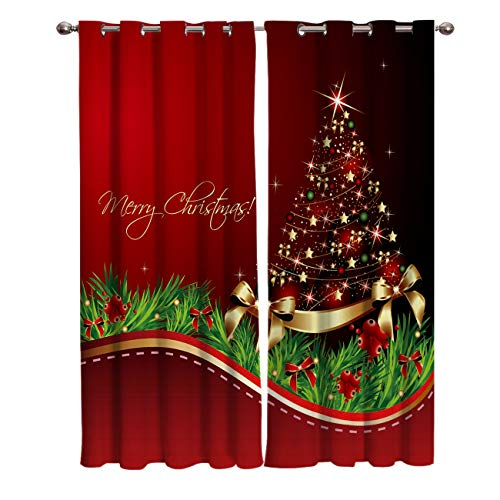 Window Panel Darkening Curtains - 63 inch Long Bedroom Curtains Colorful Bright Winter Christmas Tree Home Decor Xmas Holiday Blackout Window Draperies & Curtains for Patio Door Home Decor