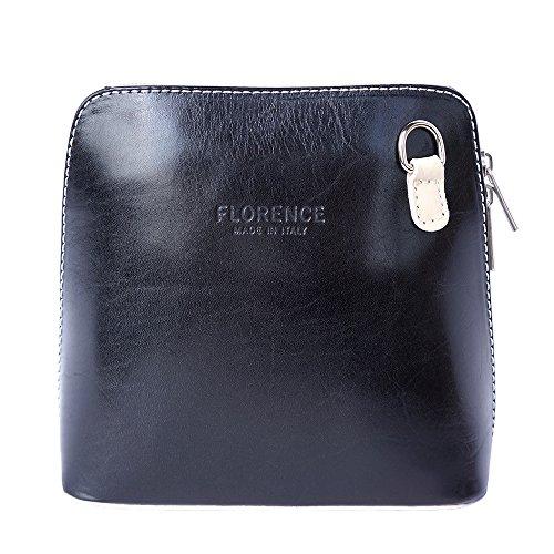 Florence Leather Market pequeño bolso de hombro y crossbody 201 Negro-beige