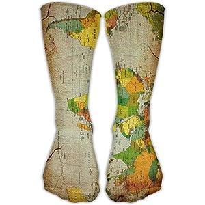 Nifdhkw Calcetines tobilleros informales de algodón con diseño de mapamundi, para hombres y mujeres