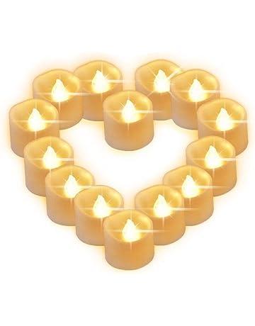 2aa205a820f Velas LED Sin Fuego 14 Pack ,Velas LED que parpadean amarillas para hogar  festivales decoración