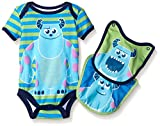 Disney Baby-Boys 1 Sully Monsters Inc Creeper and 2 Sully Bibs To Attach To The Creeper, Green, 0-3 Months (3-Piece)