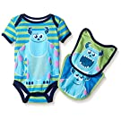 Disney Baby-Boys 1 Sully Monsters Inc Creeper and 2 Sully Bibs To Attach To The Creeper, Green, 6-9 Months (3-Piece)
