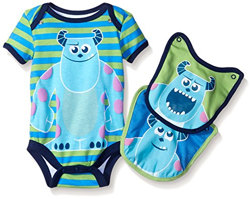 Disney Baby-Boys 1 Sully Monsters Inc Creeper and 2 Sully Bibs To Attach To The Creeper, Green, 6-9 Months (Baby Monsters Inc)