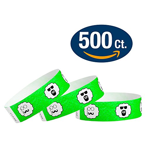 "WristCo Mustache 3/4"" Tyvek Wristbands - 500 Pack Paper Wristbands For Events"