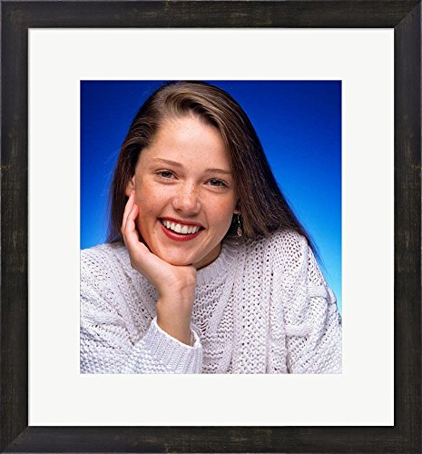 Great Art Now 1980s Smiling Teenage Girl Looking At Camera by Vintage PI Framed Art Print Wall Picture, Espresso Brown Frame, 19 x 20 inches Blues 1980 Vintage Jersey