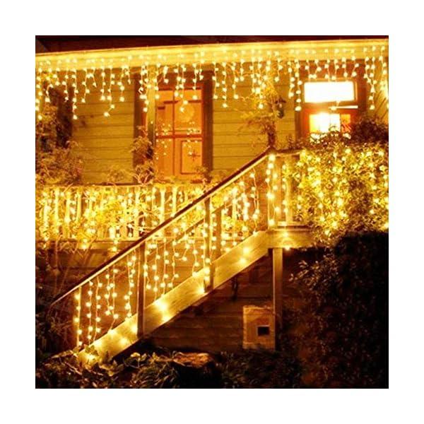 LED Tenda Luminosa, Catena Luminosa, Luci cascata, Luci per Tende, 216 LEDs 5M Natale Luci Stringa Bianco Caldo 8 Modalità Impermeabili IP44, per Natale finestra, porta, patio, giardino, feste 1 spesavip