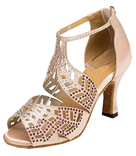 TDA Womens Peep Toe T-strap Cut out Satin Crystal Zippers Latin Modern Dance Shoes Beige zZJo2OV