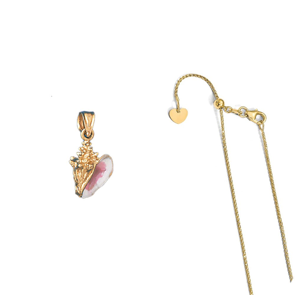 14K Yellow Gold 3-D Enamel Conch Shell Pendant on an Adjustable Chain Necklace