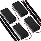 abcGoodefg 3.7V 18650 Battery Holder Case Plastic Battery Storage Box with ON/OFF Switch and strap (4 Pcs 2 Solts)
