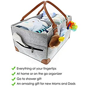 Baby Diaper Caddy Organizer – Extra Large Storage...