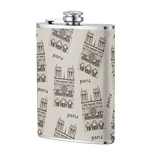 - Flask For Liquor 8 Oz Leak Proof 304 Stainless Steel Leak Proof Slim Profile Notre Dame De Paris Cathedral, France Design Classic Leather Wrapped Personalized Flask Gift