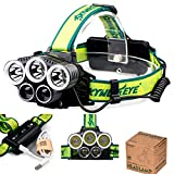 Skywolfeye Headlamp, LED Headlamp, Rechargeable Headlamp 10000 Lumen with 6 Modes Zoomable, Waterproof, Portable Hardhat Head Lamp, 18650 USB Rechargeable Flashlight for Outdoors Hiking Adults