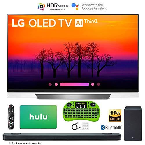 LG 55″ E8 OLED 4K HDR AI Smart TV (2018 Model) Bonus Hi-Res Soundbar + Hulu $100 Gift Card + Wireless Remote Keyboard More – OLED55E8
