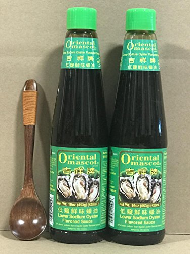 KC Commerce Oriental Mascot Premium Oyster Sauce 16oz Pack of 2 With FREE Wodden Spoon (NO MSG, Lower Sodium)