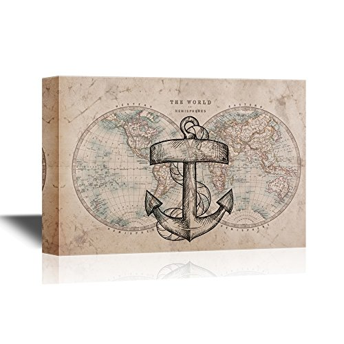 Anchor with Rope on Vintage World Map Background
