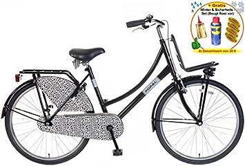 Bicicleta holandesa para mujer 66.04 cm POZA OV Leopard negro + ...