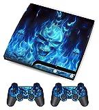 PlayStation 3 PS3 Slim Sticker - Aufkleber Schutzfolie für Sony Playstation 3 PS3 Slim Konsole mit 2 Aufkleber für Playstation DualShock 3 Wireless Controller Skull of Blue Fire