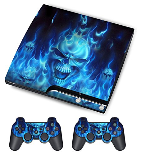 (Skin Sticker for PS3 PlayStation 3 Decals Custom Mod Cover Decal Modding Game Vinyl Skins for Sony Play Station 3 Slim Console and 2 Wireless Remote Controllers - of Blue Fire)
