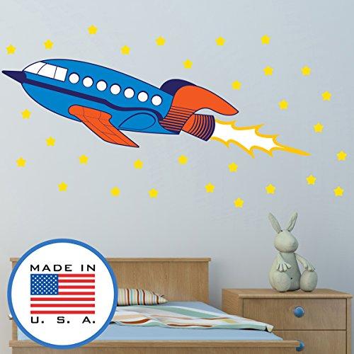WallClipz Rocketship Wall Decal Fabric Rocket Ship Cartoon D