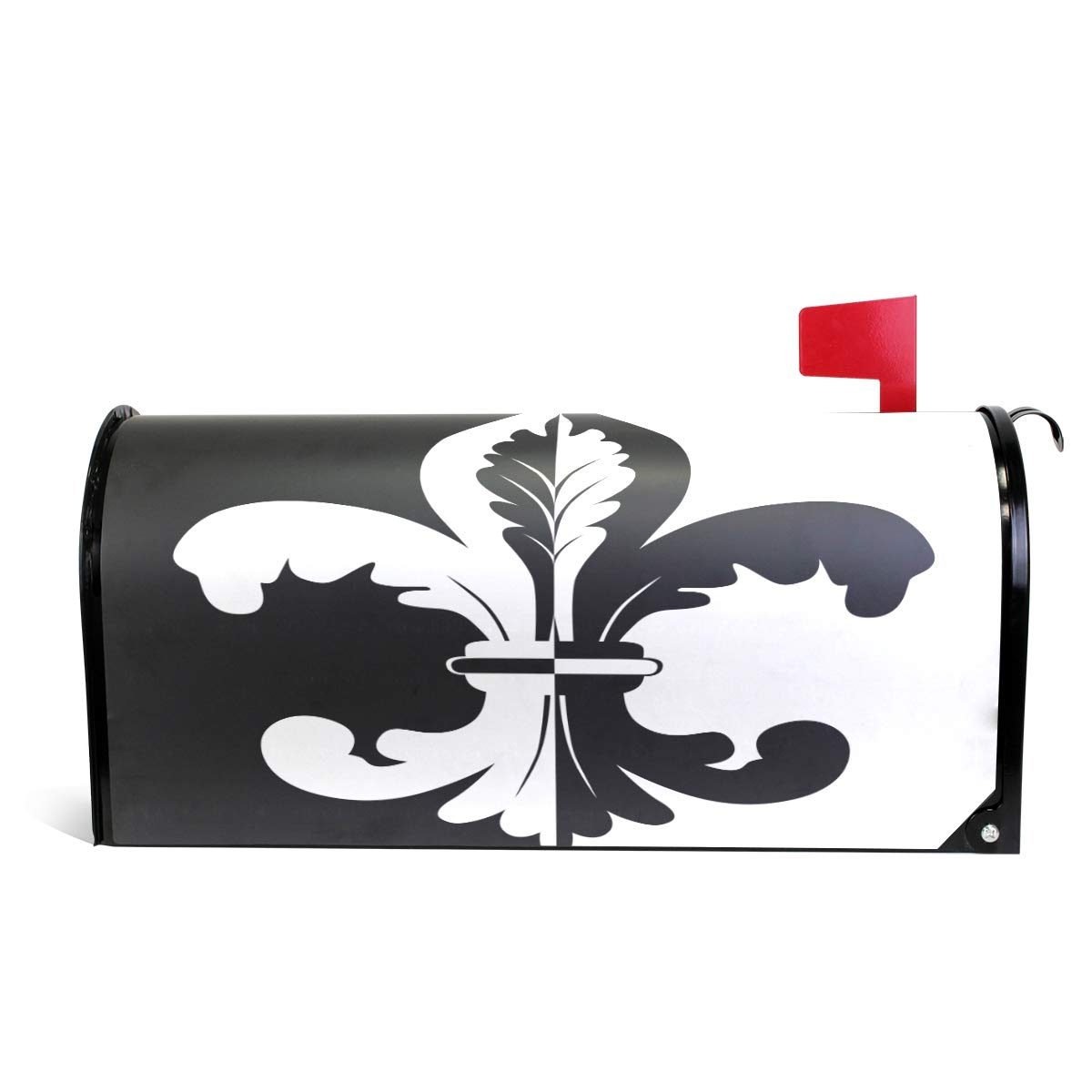 ZZKKO Black and White Fleur De Lis Mailbox Covers Magnetic Seasonal Colorful Pattern Home Houses Decorations,20.8x18 Inch Standard Size,Multicolor by ZZKKO