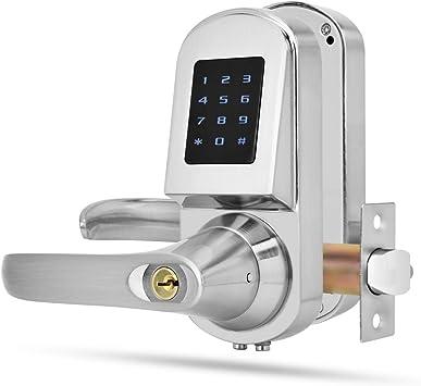Cerradura Electrónica, S201 Cerradura inteligente de huellas dactilares, Cerradura de Teclas mecánicas Tarjeta de contraseña Teclado de pantalla ...